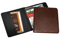 black and brown leather ring binders
